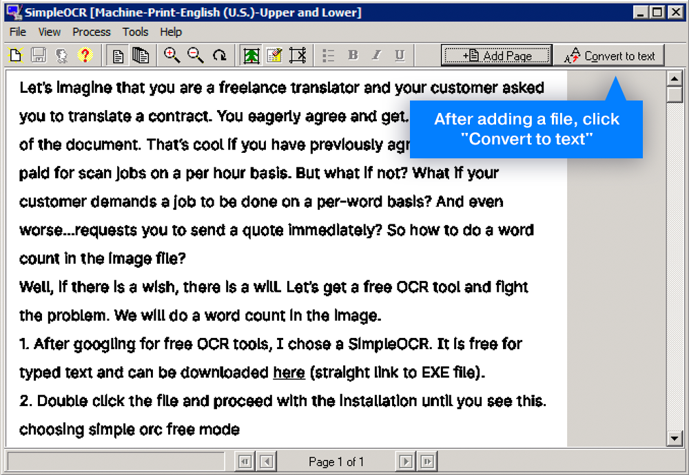 Convert image to text for word count