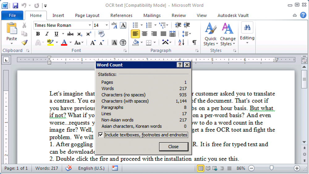 Count text from ocr in doc