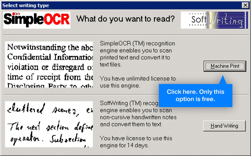 """Select the """"machine print' to count words in OCR"""