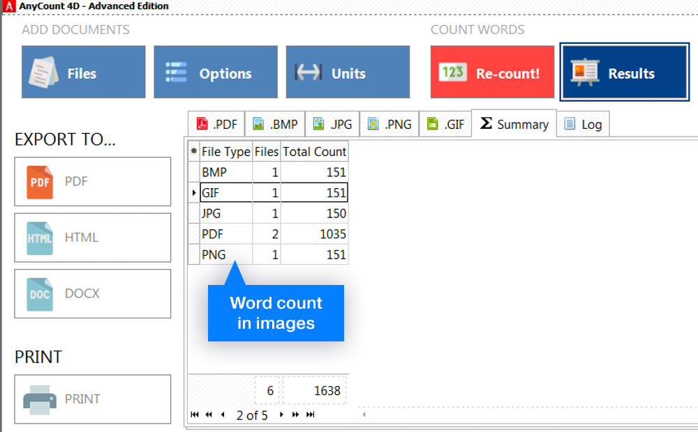 Word count in Images and OCR