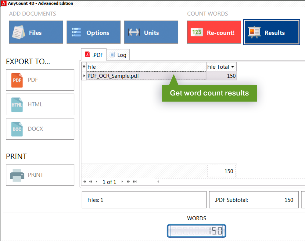 PDF OCR word count results