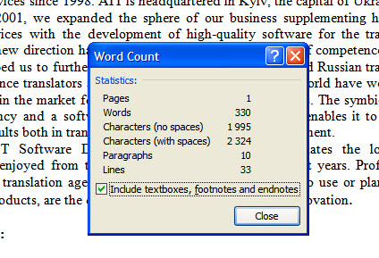 Word count in plain text