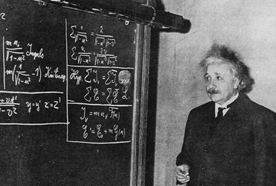 Albert Einstein counts words on the chalkboard