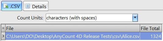 Count characters with spaces in csv