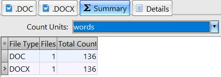 Word count results in AnyCount