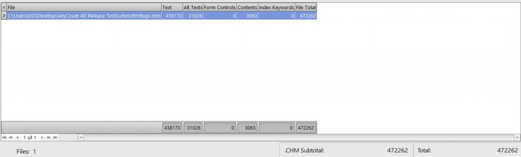 Counting characters without spaces in chm
