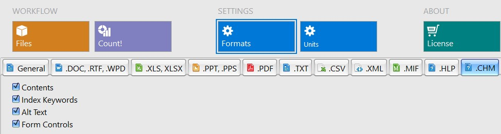 Settings for word count in chm