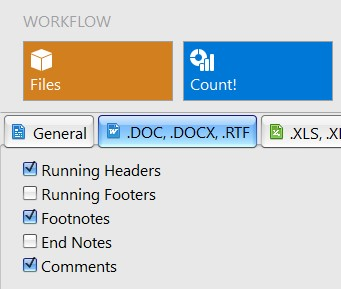 Settings for word count in docx