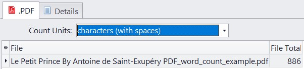 characters with spaces count in pdf