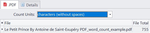 characters without spaces count in pdf