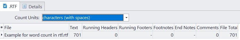Count characters with spaces in rtf