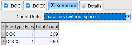 Count characters without spaces in docx