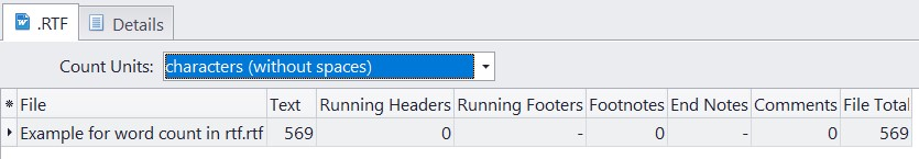 Count characters without spaces in rtf