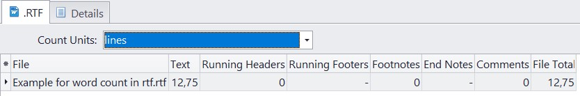 Count lines in rtf