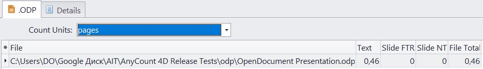 Count pages in odp