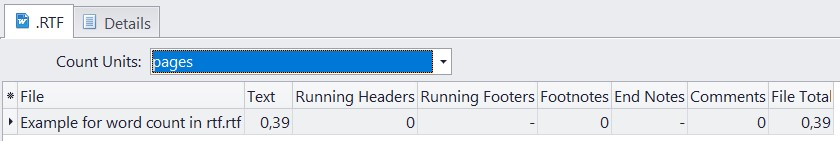 Count pages in rtf