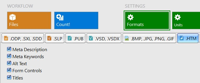 Settings for word count in htm