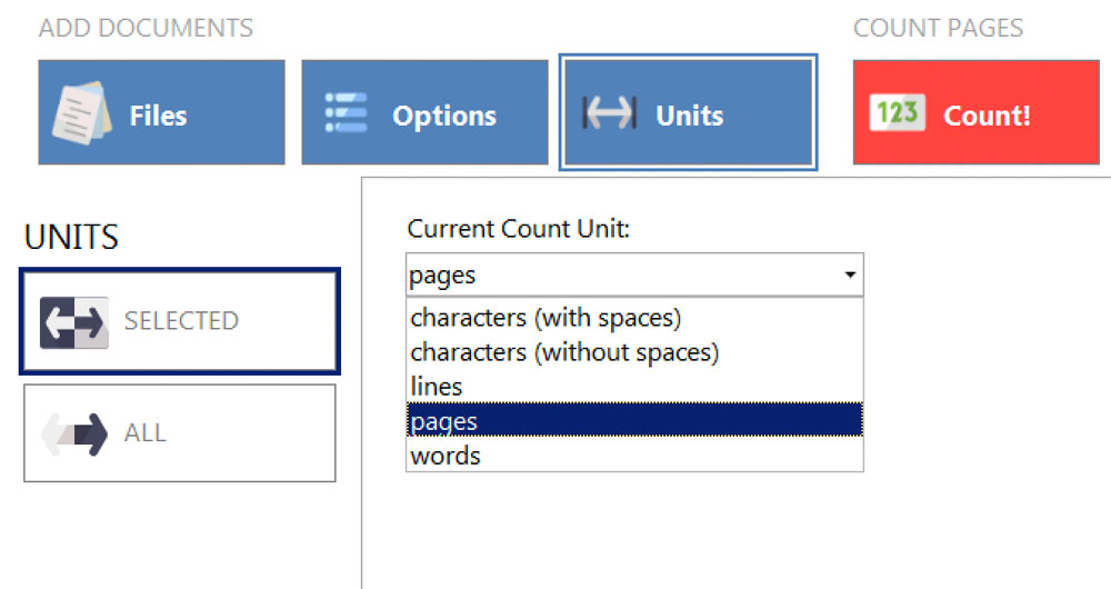 AnyCount page count settings