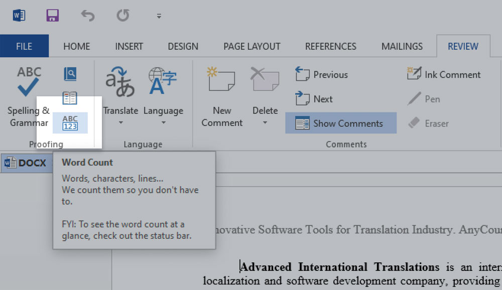 Word and character count in Microsoft Word 2013
