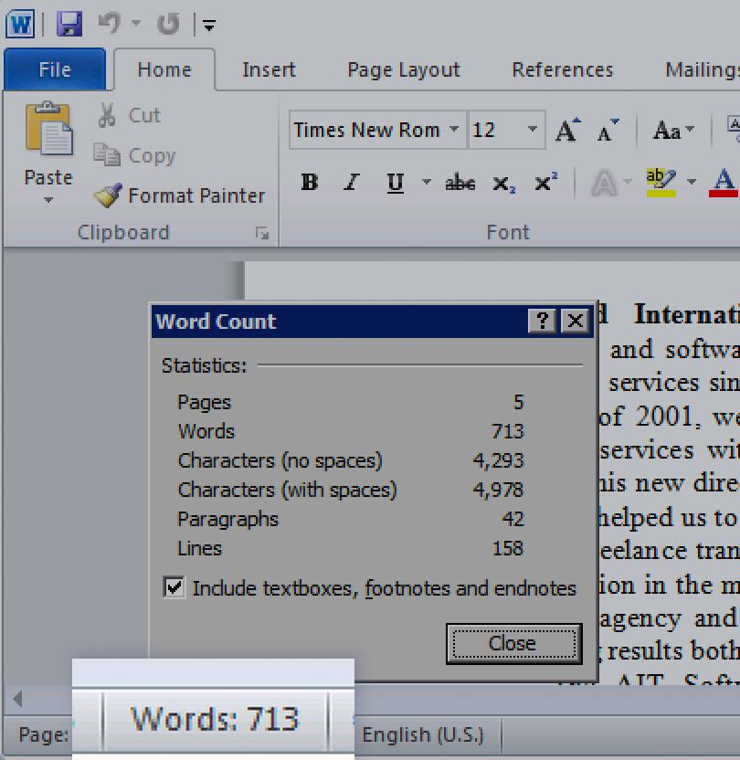 Microsoft Word 2010 status bar word-count