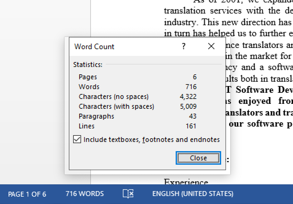 Word-count Microsoft Word 2013