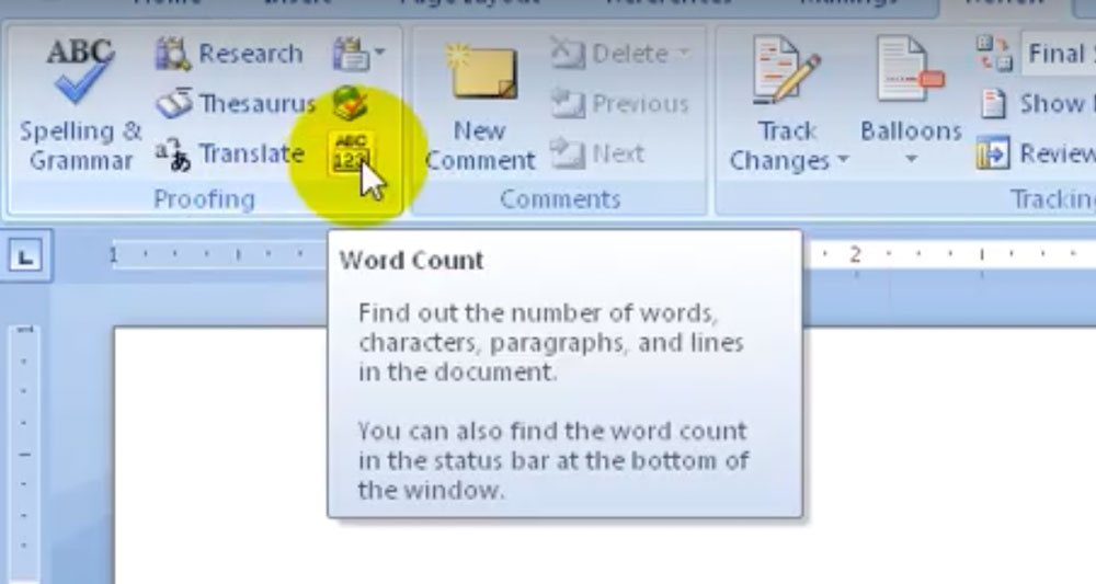 Word-count in Microsoft Word 2007