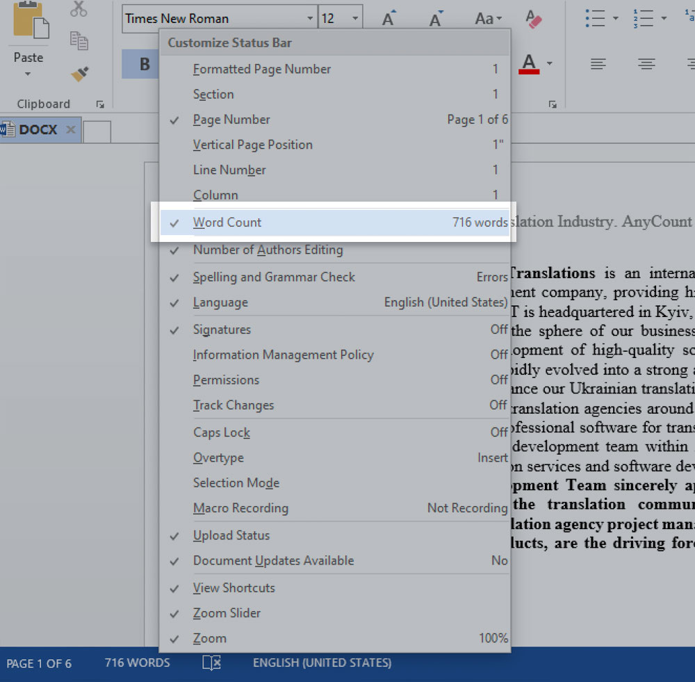 Word-count drop-down list in Microsoft Word 2013