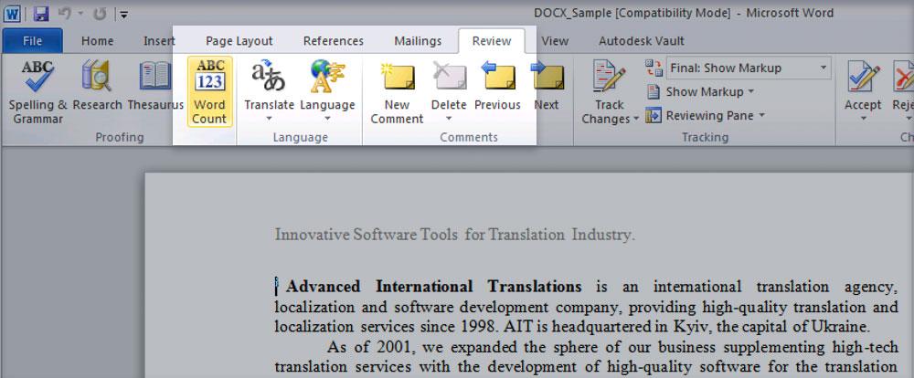 Word-count menu in Microsoft Word 2010