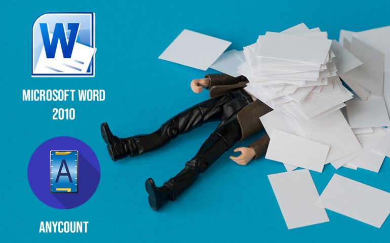 Word-count in Microsoft Word 2010 and Anycount