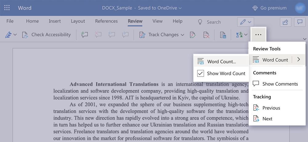Word-count in word online condensed window