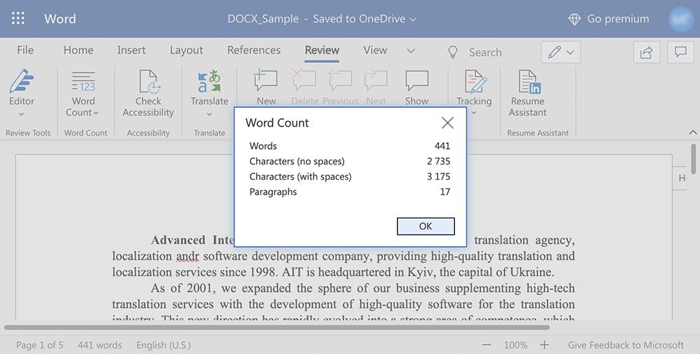 Word-count window in Word Online
