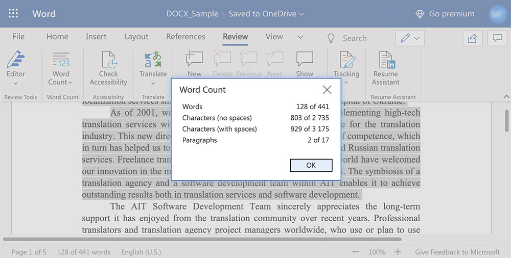 Word-count Microsoft Word online selected part