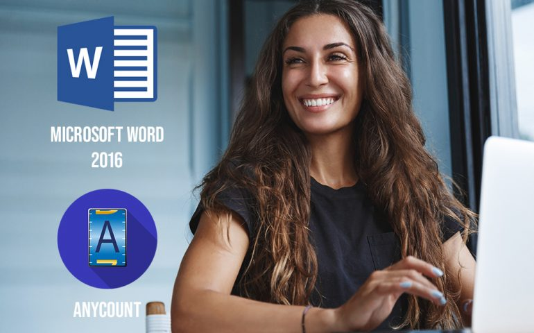 Word count, character count, and line count in Word 2016