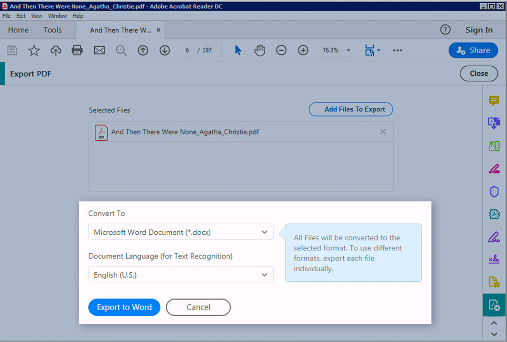 Convert PDF to Word with Adobe Reader