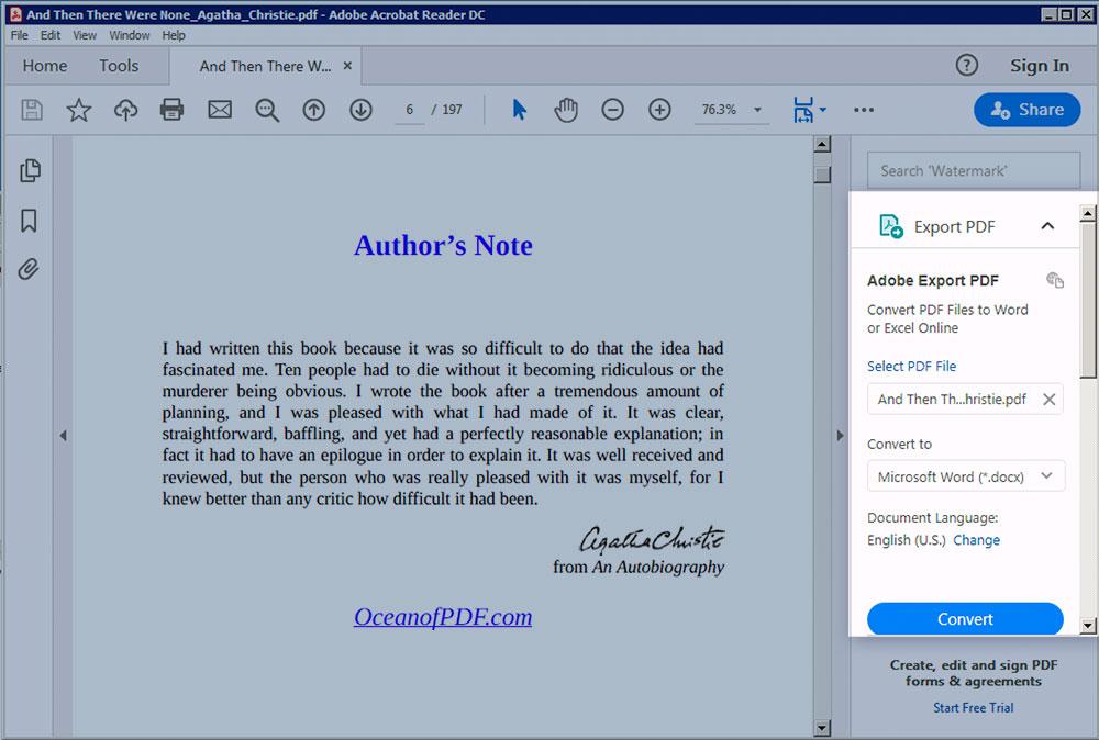 Export PDF to Word Adobe Reader