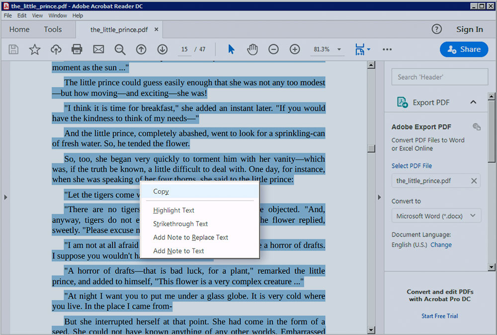 Word count in PDF. Copy text