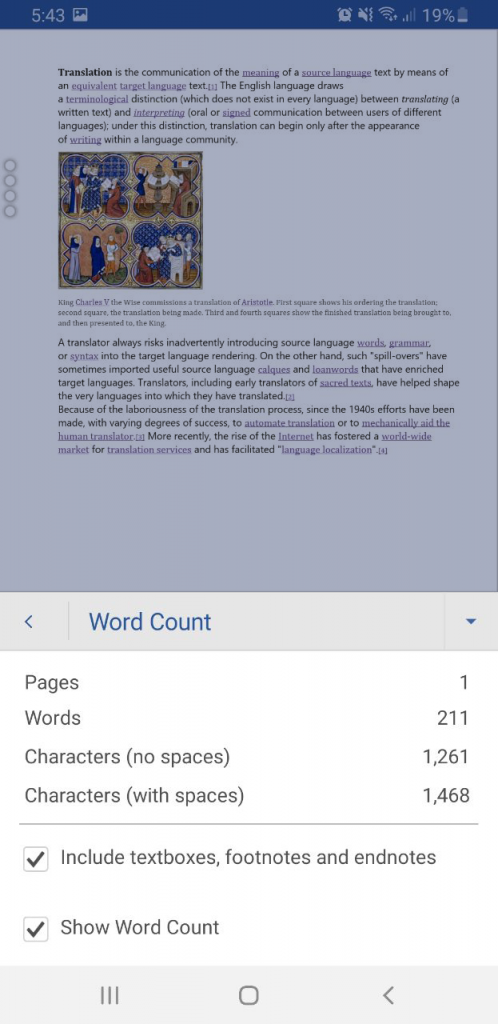 Android word-count step #4