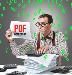 PDF word count on the Adobe Scan app, Microsoft Word, and AnyCount