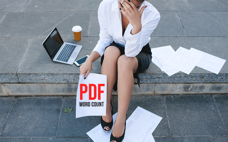 PDF word count on the Adobe Acrobat Reader DC app, Microsift Word, and AnyCount