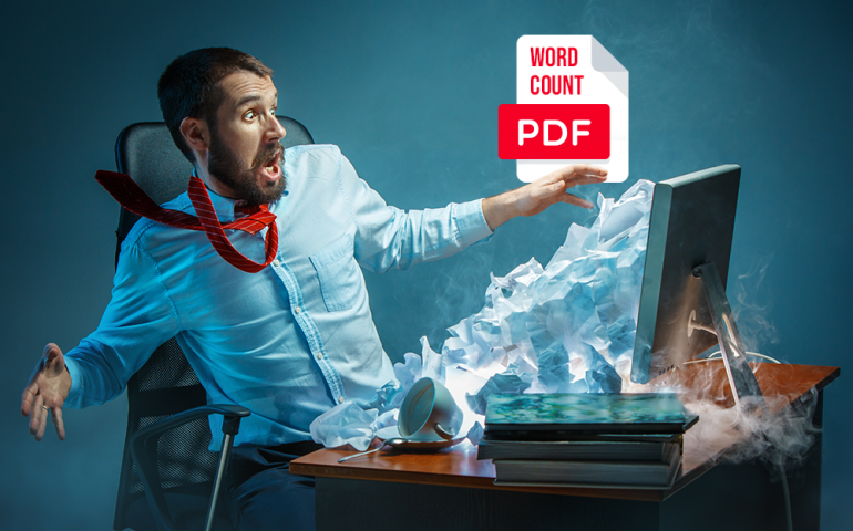 Word-count in pdf files
