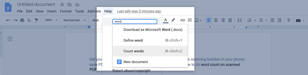 Word count with Search bar in Google Docs