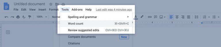 Google Docs Tool Word Count
