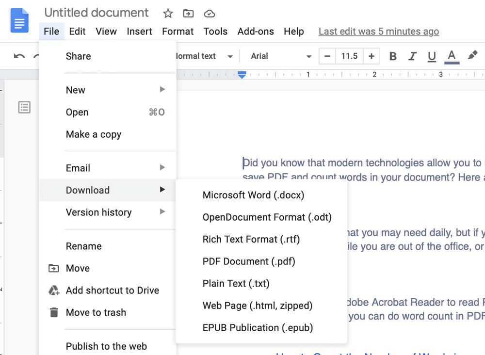 Google Docs Export