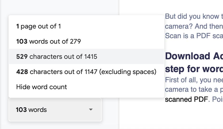 Google Docs word-count bar