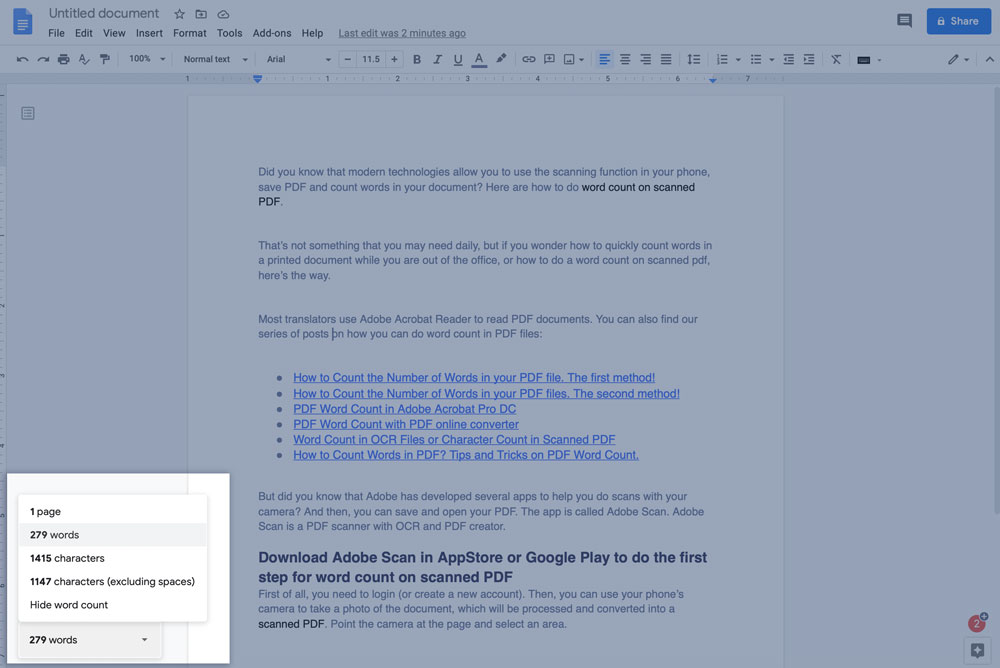 Google docs word count while typing