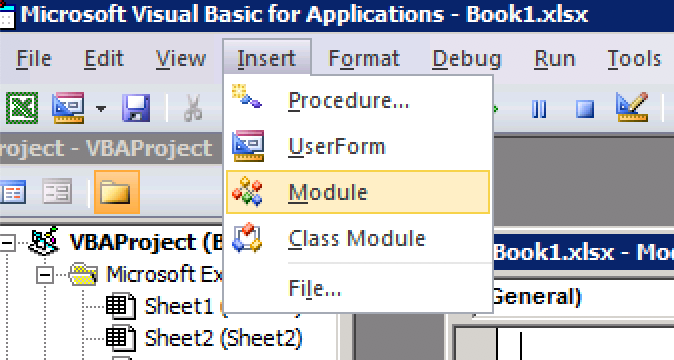 Insert the Module to count words in Excel