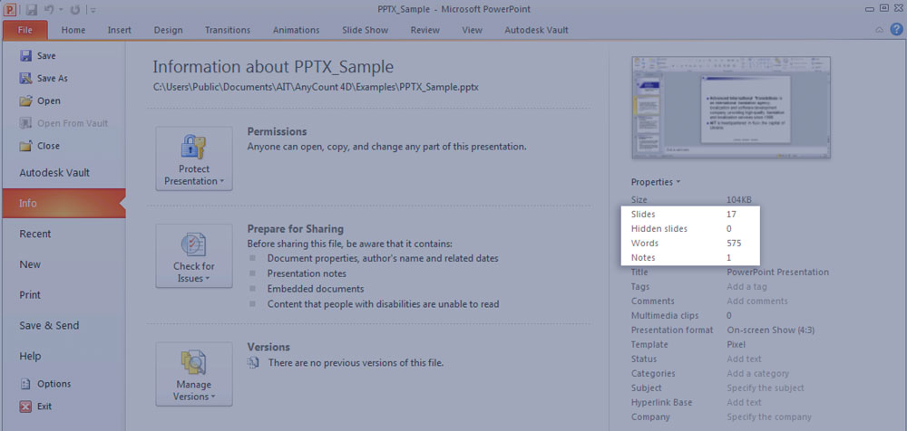 PPTX word-count statistics