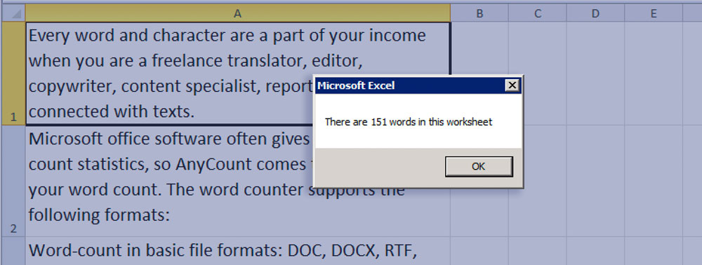 Word Count in Excel with the VBA code